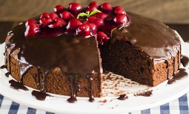 Ciasto podwójnie czekoladowe z wiśniami